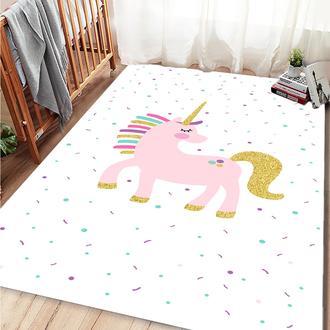 Missia Home Unicorn Desen Çocuk Halısı - Pembe Gold - 80x150 cm