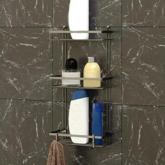 Tekno-tel 3 Katlı Kancalı Banyo Rafı - Siyah