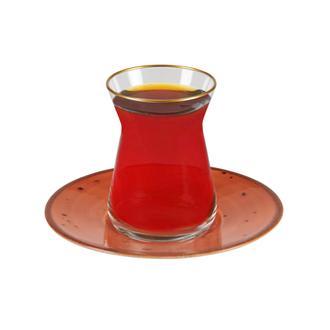Tulu Porselen Heybeli Çay Tabağı - Turuncu - 13 cm