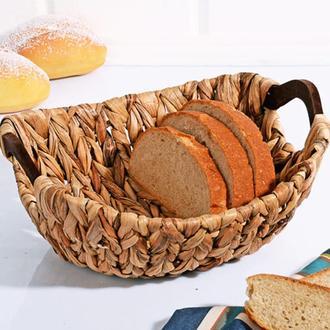 Kosova Lüx Ahşap Kulplu Hasır Ekmek Sepeti - 29x25x13 cm