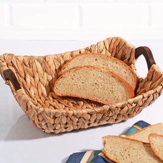 Kosova Lüx Ahşap Kulplu Hasır Ekmek Sepeti - 31x25x13 cm