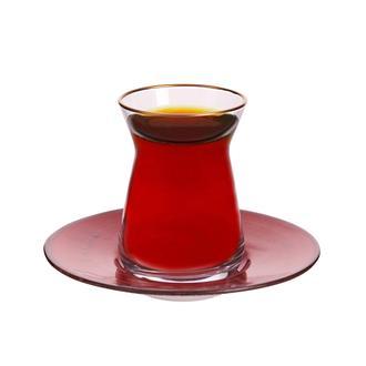 Tulu Porselen Heybeli Çay Tabağı - Kırmızı - 13 cm