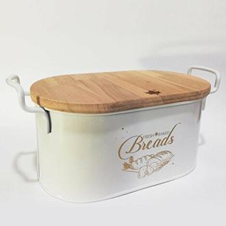 Evstyle Ahşap Kesme Tahtalı Ekmek Kutusu - Beyaz - 33x20x16,5 cm